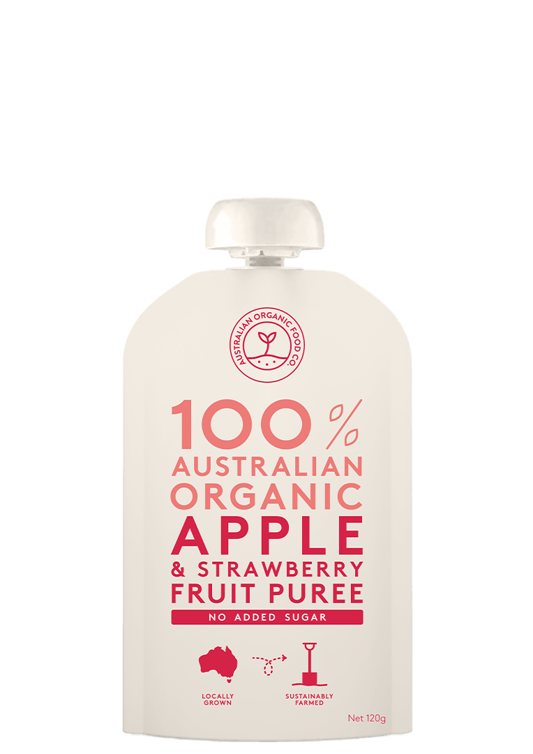 Apple & Strawberry Fruit Puree Package Image
