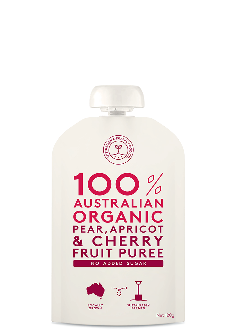 Pear, Apricot & Cherry Fruit Puree Package Image